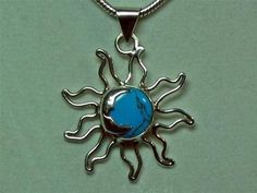 Vtg Mexico Sterling Silver Turquoise Sun Moon Pendant Necklace