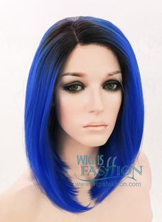 "14"" Medium Straight Black Mixed Dark Blue Lace Front Synthetic Hair Wig LF826 - Wig Is Fashion"
