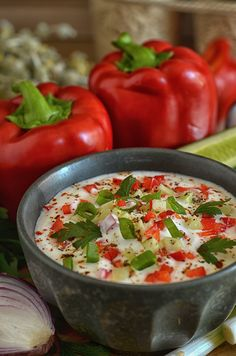 chłodnik zogórkami ipapryką Kefir, Vegetables, Cooking, Recipes, Food, Kitchens, Kitchen, Vegetable Recipes, Eten