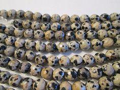 Jasper Beads 6mm Dalmation Jasper Faceted Round Bead by FLcowgirls on Etsy $6.20 #beadsforsale #jasper #fullstrand