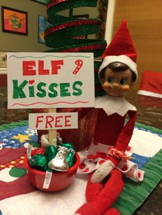 Elf on the Shelf - Free Kisses Candy Cane, Holiday Decor, Elf On The Shelf, Shelves, Christmas, Shelf Ideas, Home Decor, Kisses, Birthday Ideas