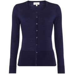 Linea Machine washable merino LS cardigan (115 CAD) ❤ liked on Polyvore featuring tops, cardigans, navy, women, merino cardigan, navy tops, linea, navy cardigan and round top