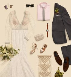 Channeling bridal boho. Think delicate beading, flowing fabrics, and floral inspo.  Photo credit: The Black Tux