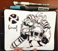 Giroof Meeting Sketch Drawn in my @sketchwallet using @pentelofamerica fine color brush.  #pentel #mrjaymyers #inking #characterdesign #art #artists #sketchwallet #sketch #sketchbook