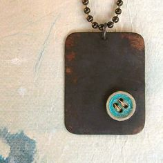 Teal Patina Button on Copper Necklace  #gifts #jewelry #jewellery