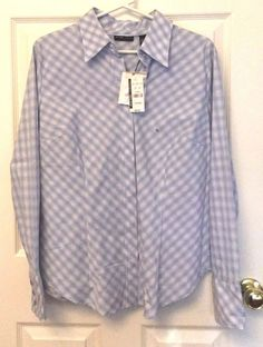NY Co Blouse Casual Size XL Long Sleeve Button Front Collared Blue Plaid NEW #NewYorkCompany #ButtonDownShirt #CareerCasualClub
