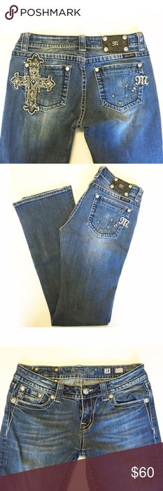 """Miss Me Easy Boot Jeans 28 x 32.5 Great pair of Easy Bootcut Jeans from Miss Me! Features a studded cross on one pocket and a scattered design on the other. Very minimal wear on the hems of the jeans, otherwise in perfect condition! Were professionally hemmed at Buckle to a 32.5"""" inseam. Size 28. Miss Me Jeans Boot Cut"""