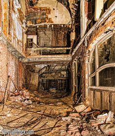 Abandoned Palace Theater Lobby - Gary, Indiana    Has the zombie apocalypse touched Gary, IN ?