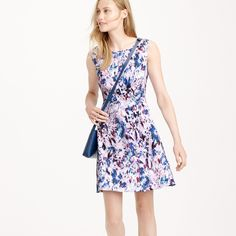 Rehearsal? Flare dress in watercolor floral print : day | J.Crew