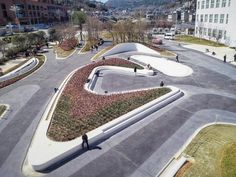 Landscape Plaza, Landscape And Urbanism, Urban Landscape, Landscape Design, Garden Design, Plaza Design, Hospital Health, Wall Seating, Modern Buildings