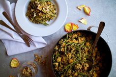 Late Summer Dinner – Sweet Potato, Green Beans & Tahini Dreamy Quinoa Sweet Potato Green Beans, Late Summer, Tahini, Meals For One, Palak Paneer, Quinoa, Risotto, Cravings, Potatoes