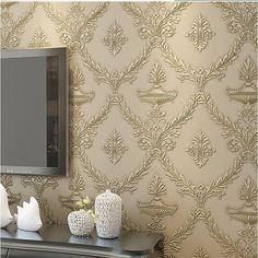 Blooming Wall Extra Thick Double-side Non Woven Metalic Vintage Damascus Pattern Wallpaper, Priced in Double Rolls, 41404, Wallpaper - Amazon Canada