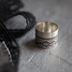 Make an instant impression with this bold wide statement ring. My black lace ring is made with recycled silver for all you eco conscious fashion lovers. This handmade wide silver ring with a lush continuous black lace textured pattern around the outside. Modern Jewelry, Custom Jewelry, Jewellery Quarter, Lace Ring, Lace Design, Statement Rings, Silver Rings, Silver Jewellery, Jewelry Gifts