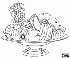 Large Dish Filled With Mixed Fruits Coloring Page