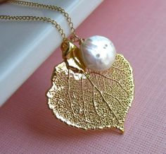 Moonlit Trees Necklace, Genuine 24K Gold Aspen Leaf with a Freshwater Coin Pearl via Etsy.