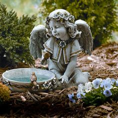 This lovelySolar Powered Bird Bath Angel Outdoor Garden Statue hasa bird perched on her hand and a bird bath in front of her.This garden statue needs to be placed in full sun for up to 8 to 10 hours to work properly. The light will automaticall...