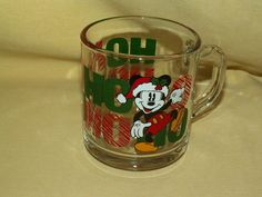 MICKEY MOUSE MUG GLASS CHRISTMAS HOLIDAY HO HO HO DISNEY ANCHOR HOCKING USA CUP