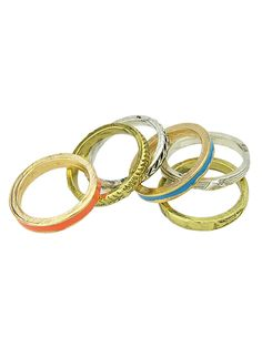 Multicolor Textured Ring Pack | Choies