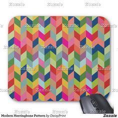 Modern Herringbone Pattern Mouse Pad