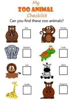 Zoo Animal Checklist  |  Have a zoo animal scavenge hunt for kids using a checklist of these common zoo animals