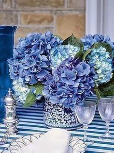 Centro de mesa con hortensias azules http://conbdeboda.blogspot.com.es/2013/10/hortensias-para-tu-boda.html