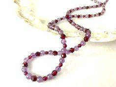 Garnet & Amethyst Gemstone Beaded Necklace, Garnet Jewelry, Amethyst Jewelry, Beaded Jewelry, Gift for Her by TheGoldsmithShop on Etsy