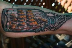 Amazing Ship In Bottle Tattoo For Upper Sleeve6