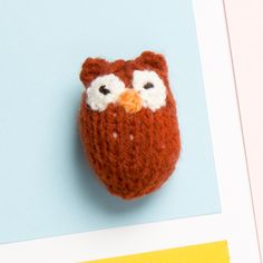 Knitted Owl Brooch by Teresa Mum. £2.50. Available from the Paintings in Hospitals gift shop from 03/09/2015.