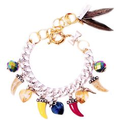 Colorful Horns, Horseshoe, Heart Charm bracelet MAIDEN-ART ❤ liked on Polyvore featuring jewelry, bracelets, stone, chain charm bracelet, charm bracelet jewelry, horn charm, horn bangle and heart charm