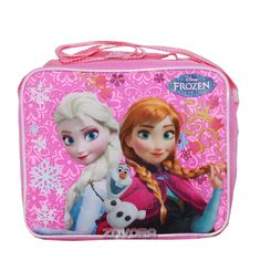 Disney Frozen Girls Rectangle Lunch Bag with Strap- Elsa, Anna, Olaf