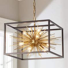 Check out Boxed Starburst Chandelier from Shades of Light Sophisticated and modern, this beautiful chandelier has an undeniable magnetic presence! The starburst chandelier is caged in a contrasting Matte Black box adding a heightened sense of drama. Retro Ceiling Lights, Semi Flush Ceiling Lights, Flush Mount Ceiling, Room Lights, Globe Chandelier, Chandelier Shades, Pendant Lamps, Pendant Lights, Pendants