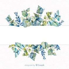 Watercolor eucalyptus banner with blank banner Free Vector Wreath Watercolor, Watercolor Leaves, Watercolor Cards, Watercolor Paintings, Flower Watercolor, Flower Background Wallpaper, Flower Backgrounds, Textured Background, Wallpaper Backgrounds