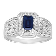 3/4 ct Created Sapphire Ring with Diamonds in Sterling Silver -- Continue to the product at the image link. (This is an Amazon Affiliate link and I receive a commission for the sales)