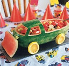 Watermelon Carving Ideas Watermelon Truck ~ Many Watermelon Recipes! Make the most of melon season by having a little fun with fruit. These watermelon carvings and watermelon baskets are not only great activities for parents and kids, but the watermelon Watermelon Basket, Watermelon Baby, Watermelon Recipes, Watermelon Designs, Watermelon Activities, Fruits Decoration, Deco Fruit, Fruit Creations, Watermelon Carving
