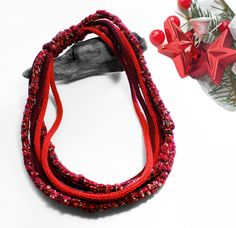 Red wool necklace by SilmieBijoux on Etsy
