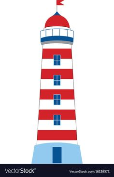 Lighthouse on white background vector image on VectorStock Nautical Baby, Nautical Theme, Free Quilling Patterns, Rock Decor, New Baby Cards, Baby Christening, Lol Dolls, Painted Rocks, Lighthouse