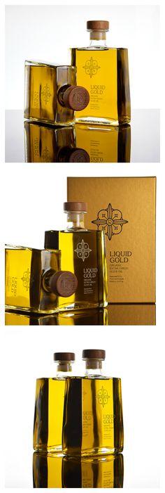 Panos Nikolaou - Liquid Gold Extra Virgin Olive Oil - World Brand Design Olive Oil Packaging, Bottle Packaging, Brand Packaging, Olives, Gin Brands, Virgin Oil, Olive Oil Bottles, Liquid Gold, Packaging Design Inspiration