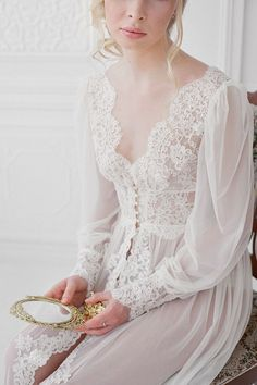 An elegant and sophisticated bridal boudoir session with a lace and pearl button negligee and candles. Bridal Boudoir, Bridal Robes, Wedding Lingerie, Bridal Lace, Lace Wedding, Jolie Lingerie, Mode Chic, Pretty Lingerie, Lace Lingerie