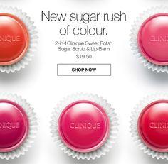 New sugar rush of colour. 2-in-1 Clinique Sweet Pots(TM) Sugar Scrub & Lip Balm $19.50 SHOP NOW