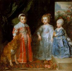 Antonis van Dyck, Die drei ältesten Kinder Karls I. (Sir Anthony van Dyck, The Three Eldest Children of Charles I.)  Antonis van Dyck (Antwerpen 1599 - London 1641)  Die drei ältesten Kinder Karls I. (1637)  Galleria Sabauda, Torino