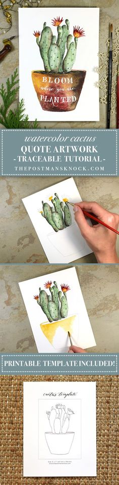 Watercolor Cactus + Quote Artwork Tutorial | The Postman's Knock - A fun way to combine watercolors and calligraphy :)
