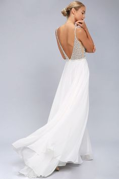 Rhinestone White Dress
