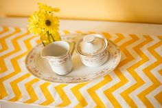 Chevron Yellow Table Runner 10 x 72 por ThePreppyOwlBoutique, $9.99