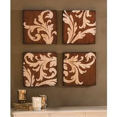 This looks like a GREAT project party idea!! http://meganbarker.uppercaseliving.net Damask Carved Wood Art