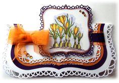 Crocus spring spellbinders card, chocolate baroque spring is in the air stamps, spellbinders labels 1.