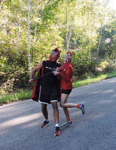 Ironman Wisconsin 2015, friends Renee & Dean doing their best Didi Senft impression.