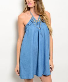 This Denim Blue Halter Dress is perfect! #zulilyfinds