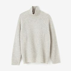 wool sweater | cosy pullover | ecru | cream | turtleneck knit in pineapple stich | by Inguna available at stevenalan.com $220