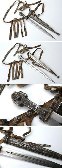 A Caucasian silver mounted kindjal ('kama') with belt. From Dagestan, late 19th century (front, rear and two close-ups).  Straight, double-edged blade with double groove and a deep mark at the base; silver-plated hilt richly engraved and nielloed; wooden scabbard decorated en suite; the rear surface, smooth and nielloed. With leather belt featuring mounts of engraved and nielloed silver. Length: 49 cm.