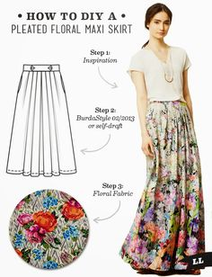 Lula Louise: DIY Outfit – Pleated Floral Maxi Skirt